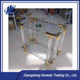 Ycc-001 Acrylic Golden Stainless Steel Dining Serving Table with Wheel