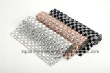 Newset Customized 8mm Glass Clear Rhinestones Heart Transfer Hot Fix Iron on Glue on Bouget Plastic Rhinestone Mesh Sheet (RM-24*40cm)
