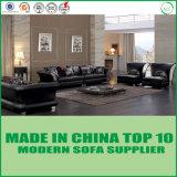 Luxury Home Furniture Elegant Black Leather Sofa 3+2+1+1
