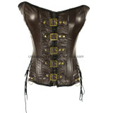 Gothic Sexy Overbust Waist Trainer Corset Slimming Leather Body Shaper