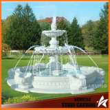 2.8m Pool Small Two Tier Fountain in White Marble for Garden Mf-064