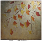 Handmade New Modern Abstract Golden Yellow and Red Ginkgo Leaves Oil Painting (LH-700007)