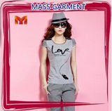 Fashion Sexy Cotton Printed T-Shirt for Women (W270)