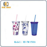 Hot Sale Insulated Acrylic Cups with Lids and Straws (HD-FM-P004)