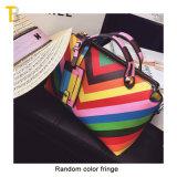 Tote Lady Stripe Leather Rainbow Women Handbags