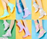 Fashion High Transparent Crystal Women′s Colorful Rainboots Martin Rain Boots
