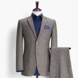 70% Wool Grey Stripes Latest Styles Suit for Men