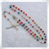 Colourful Glass Beads Rosary & Catholic Necklace (IO-cr104)
