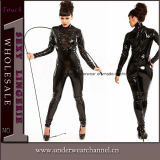 Lady Sexy Leather Mesh Insert Black Catsuit Lingerie (TGP818)