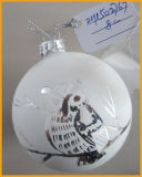 Hand Made Christmas Glass Ball with Bird Pattern