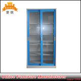 Glass Sliding Door Steel Cupboard Storage Display Cabinet with Adjustable Shelves