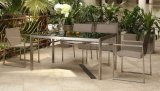 Outdoor Stainless Steel Table and Textilene Chair Set (BZ-N006)