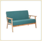 New Design Tufted Fabric Style 2 Seaters Wooden Sofa