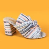 Lady White Knit Wrapped MID Heel Sandals for Girl