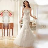 Double V-Neck Sheer Bateau Open Skirt Mermaid Wedding Dress (Dream-100013)