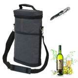 Insulated 2 Bottle Travel Carrier Wine Cooler Bag with Bottle Opener
