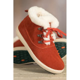 Women′s Shearling-Lined Suede Hi Top Sheepskin Shoes