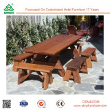 Swimming Pool Wood Outdoor Dining Table and Chair
