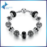 Trendy Charm Bracelet & Crown Black Murano Beads