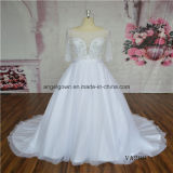 White Color 1/2 Sleeve Crystal Beading Wedding Dress