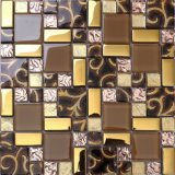Luxury Golden Foil Crystal Glass Mosaic Wall Tile (AE32)