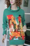 Ladies′ Cashmere Big Turtle Neck Pullover with Intarsia CIP1102L