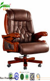 Swivel Leather Executive Office Chair with Solid Wood Foot (FY1035)