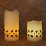 Home Decor Wavy Top Flameless LED Pillar Candles 3-Pack, Real Wax