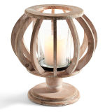Natural Wooden Pedestal Lantern with Metal Plate and Glass Inside