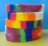 1/2 Inch Segmented Color Debossed Silicone Bracelets