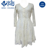 White Ladies Fashion Lace Dress V-Neck