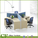 Clean Looking Wooden 120 Degree Office Workstation for 3 Person