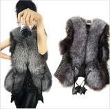 2015 New Fox Faux Fur PU Patchwork Vest Qy-V007