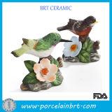 Porcelain Bird Stand on Flower Figurine