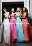 Cap Sleeves Bridesmaid Formal Gown Chiffon Lace Evening Dress E1481