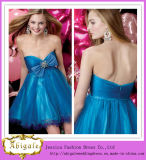 2013 Popular Short Blue Sweetheart Bowknot with Rhinestones Beaded Empire Waist Taffeta and Tulle Samples of Cocktail Dress