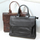 Men Crazy Horse Leather Shoulder Bag Messenger Bag Leather Briefcase