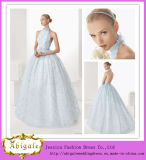 Beautiful Ball Gown Halter Backless Floor Length No Train Plus Size Light Blue Wedding Gowns (MN1044)