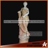 Outdoor Decoration Stone Women Statue of Color Marble