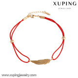 74702 Xuping Fashion Jewelry Gold Plated Red Rope Leaf Bracelet