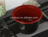 360ml Red Black Injection Disposable Plastic Hot Soup Bowl