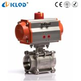 Stainless Steel Material Pneumatic Control 3 PCS Ball Valve