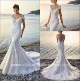 2017 Lace V-Neck Bridal Dresses Mermaid Beach Wedding Dress H13103