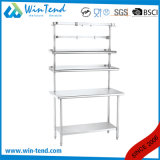 Stainless Steel Round Tube Shelf Reinforced Robust Construction Kitchen Workbench with Extra Shelf and Heigh Adjustable Leg