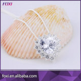Foxi Heart Shape CZ Stone Platinum Plated Gold Chain Pendant Necklace