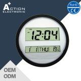 Cheap Digital Round Shape Wall Clock with Calendar Display