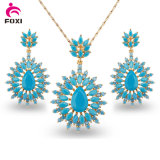 Coforful Cubic Zircon Pendant Earring Environmental Copper Jewelry Set