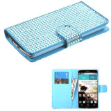 Diamond Flip Cover Cover Wallet Case for LG G3 Blue