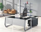 Glass Top Executive Office Desk Wooden Office Furniture (HX-GL001)