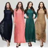 Full Lace Muslim Kaftan Islamic Long Sleeve Abaya (A948)